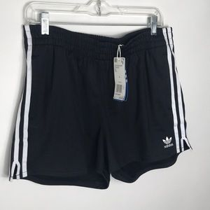 Womens Adidas black striped shorts large NWT D29